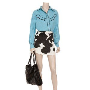 ASHISH Sequin Cow Print Mini Skirt XS